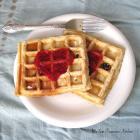 Chocolate Chip Waffles with Homemade Raspberry Sauce