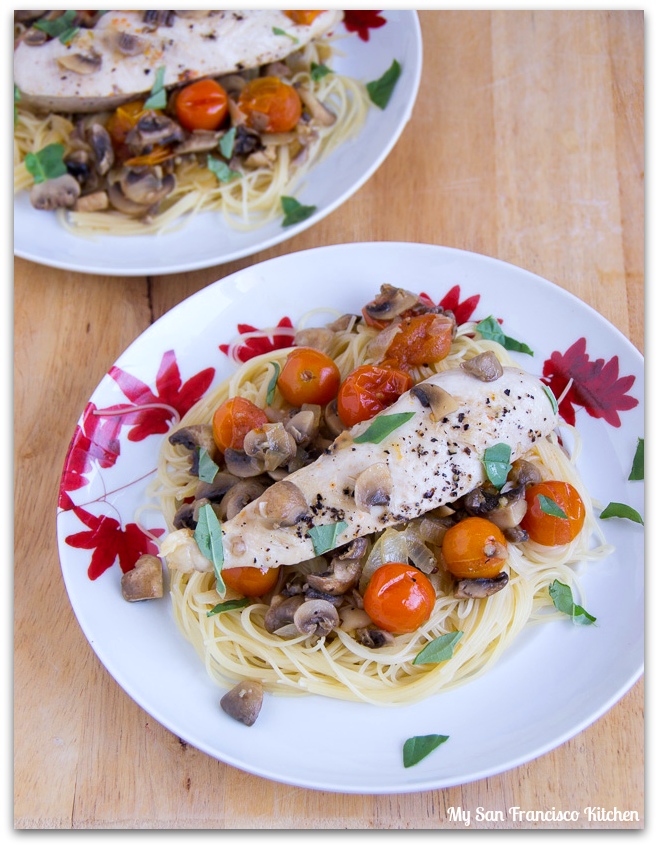 mushroom tomato chicken pasta