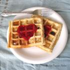 Chocolate Chip Waffles with Homemade Raspberry Sauce