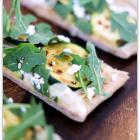 Zucchini Flatbread with Onions, Arugula & Goat Cheese