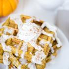 Pumpkin Waffles with Cinnamon Cream Cheese Glaze