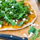 Butternut Squash Pizza with Caramelized Onions, Arugula and Goat Cheese