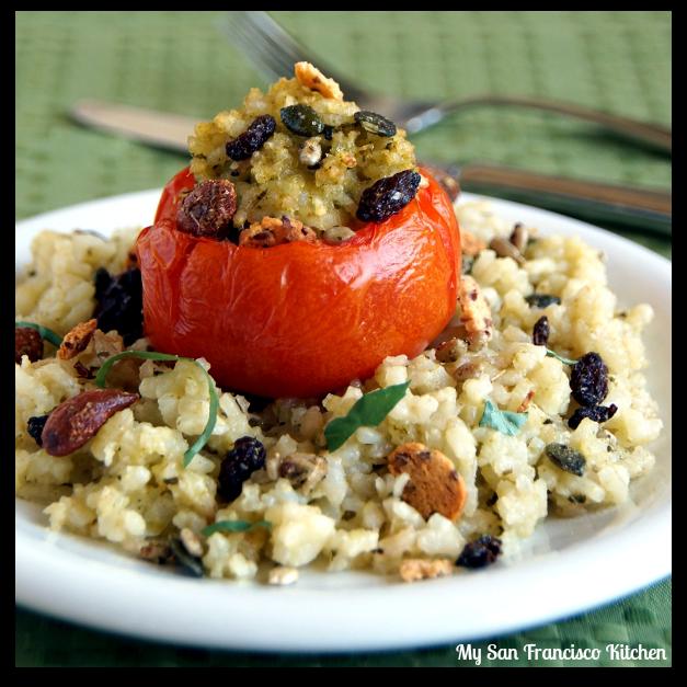 basil risotto tomatoes