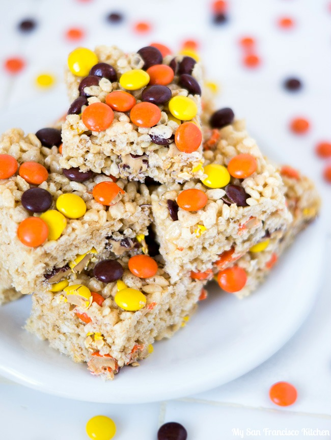 Reese's Pieces Rice Krispie Treats