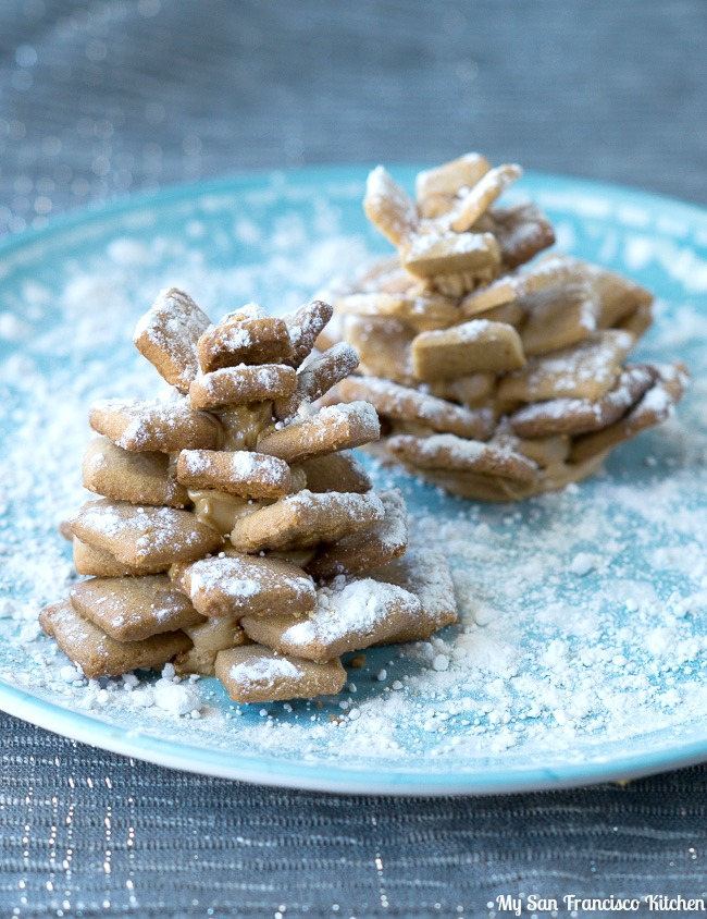 Peanut butter pine cone cookies