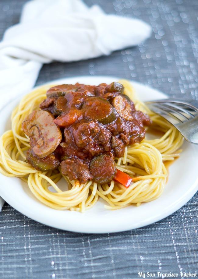 Slow Cooker Crumbled Italian Sausage Pasta