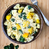 Yellow Beet, Kale and Pine Nut Farfalle